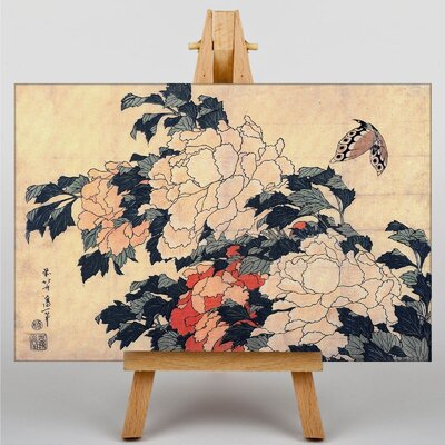 Big Box Art Peonies and Butterfly by Katsushika Hokusai Art Print on Canvas