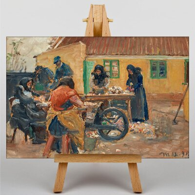 Big Box Art Women Cleaning Fishes by Michael Ancher Art Print on Canvas