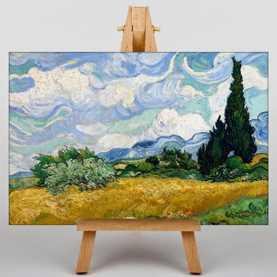 Big Box Art Wheat Field with Cypresses by Vincent Van Gogh Art Print on Canvas