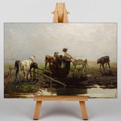 Big Box Art Calves at a Trough by Willem Maris Art Print on Canvas