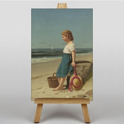 Big Box Art Young Girl on the Beach by Samuel S. Carr Art Print on Canvas
