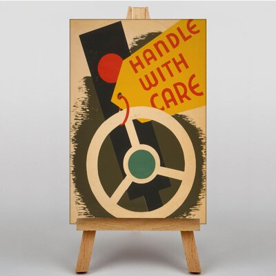 Big Box Art Handle with Care Vintage Graphic Art on Canvas