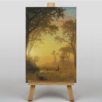 Big Box Art Sunset River with Deer by Albert Bierstadt Art Print on Canvas