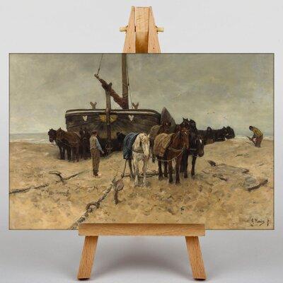 Big Box Art Fishing Boat on the Beach by Anton Mauve Art Print on Canvas