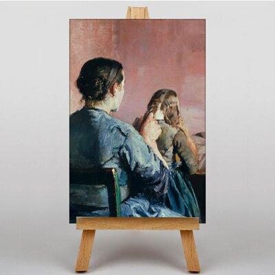 Big Box Art Braiding her Hair by Christian Krohg Art Print on Canvas