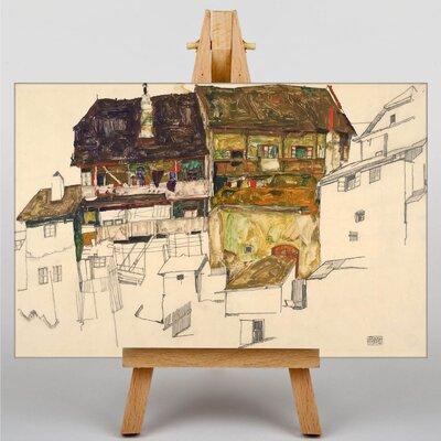 Big Box Art Old Houses in Krumau by Egon Schiele Art Print on Canvas