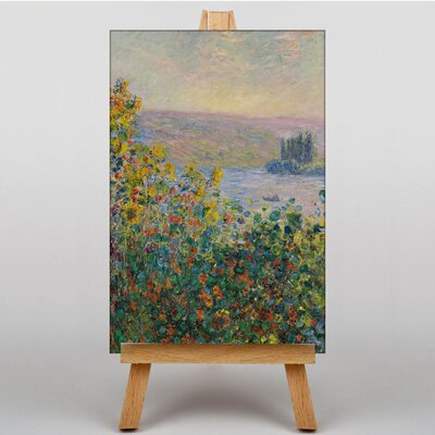 Big Box Art Flower Beds at Vetheuil by Claude Monet Art Print on Canvas