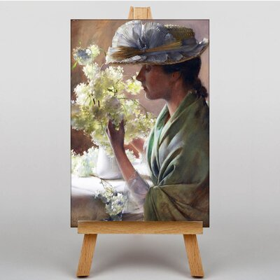Big Box Art Lady with a Bouquet by Charles C. Curran Art Print on Canvas
