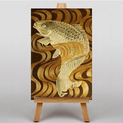 Big Box Art Carp Swimming Upstream Japanese Oriental Art Print on Canvas
