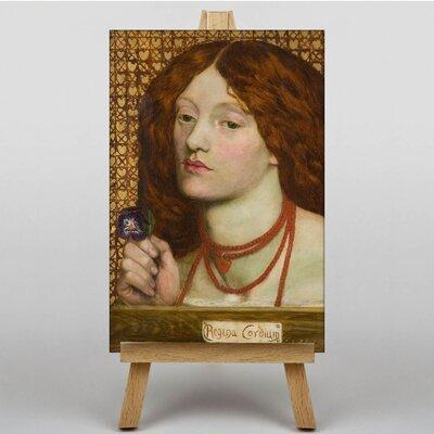 Big Box Art Woman with Purple Flower by Dante Gabriel Rossetti Art Print on Canvas