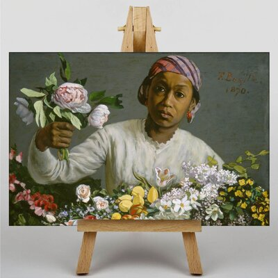 Big Box Art Woman with Peonies by Frederic Bazille Art Print on Canvas