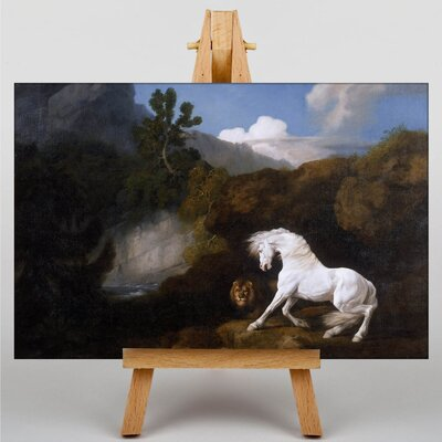 Big Box Art Horse Frightened by a Lion by George Stubbs Art Print on Canvas