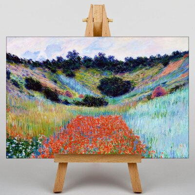 Big Box Art Poppy Field in a Valley by Claude Monet Art Print on Canvas
