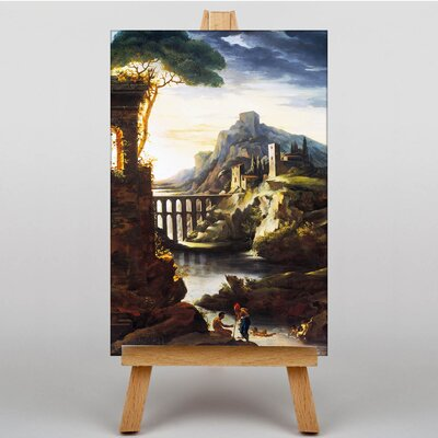 Big Box Art Landscape with an Aqueduct by Gericault Theodore Art Print on Canvas