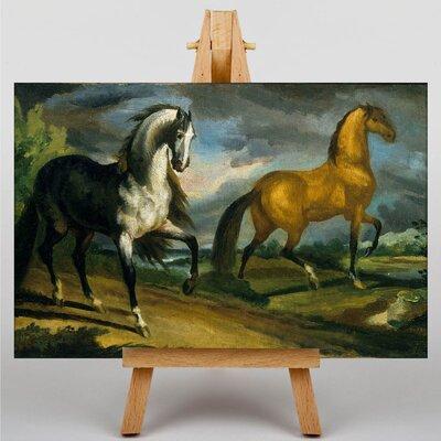 Big Box Art Two Horses by Gericault Theodore Art Print on Canvas