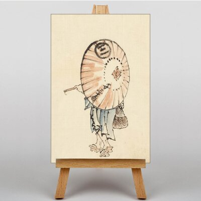 Big Box Art Girl with Parasol by Hokusai Japanese Oriental Graphic Art on Canvas