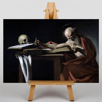 Big Box Art Caravaggio Saint Gerome Writing by Michelangelo Art Print on Canvas