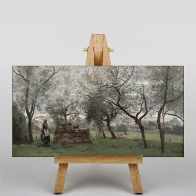 Big Box Art Woman Working by Jean-Baptiste Camille Corot Art Print on Canvas