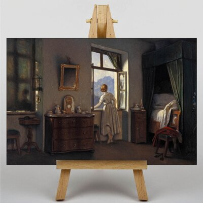 Big Box Art Schwind Woman Peering out of a Window by Moritz Von Art Print on Canvas