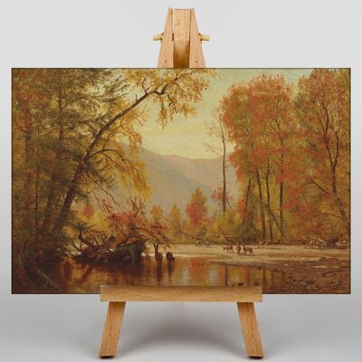 Big Box Art Autumn on the Delaware by Thomas Worthington Whittredge Art Print on Canvas