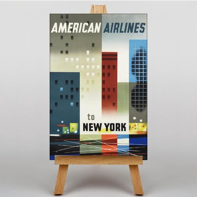 Big Box Art American Airlines to New York Vintage Advertisement on Canvas