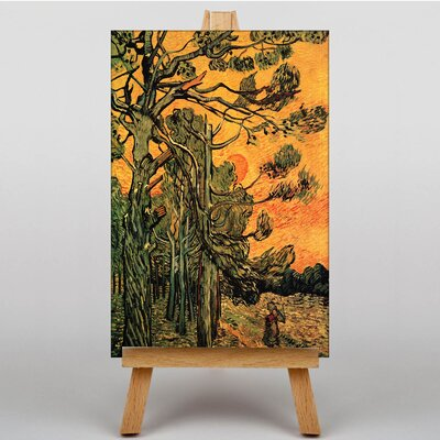 Big Box Art Pine Trees against a Red Sky by Vincent Van Gogh Art Print on Canvas