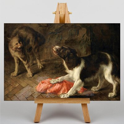 Big Box Art Cat and Dog by Abraham Hondius Art Print on Canvas