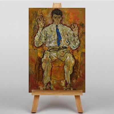 Big Box Art Portrait of a Seated Man by Egon Schiele Art Print on Canvas