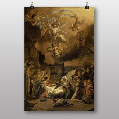 """Big Box Art """"The Adoration of the Shepherds"""" by Abraham Hondius Art Print Wrapped on Canvas"""