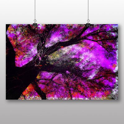 Big Box Art Abstract Purple Tree Graphic Art Wrapped on Canvas
