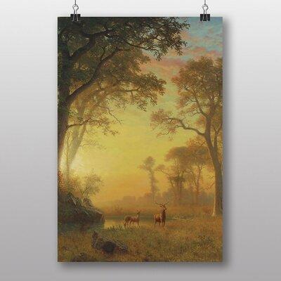 Big Box Art 'Sunset River with Deer' by Albert Bierstadt Art Print