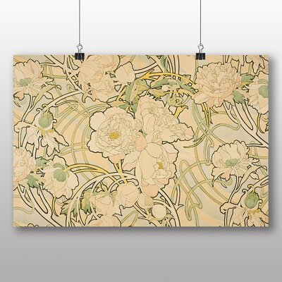 Big Box Art Peonies' by Alphonse Mucha Graphic Art