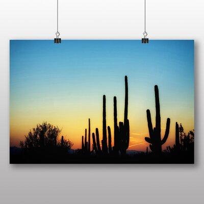 Big Box Art Arizona Cactus Sunset USA Photographic Print Wrapped on Canvas