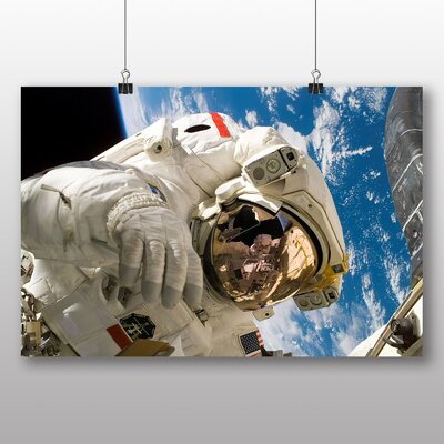 Big Box Art Astronaut in Space earth Photographic Print on Canvas