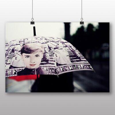 Big Box Art Audrey Hepburn Umbrella Rain Graphic Art Wrapped on Canvas