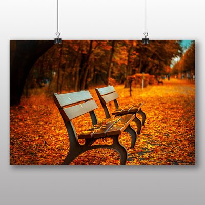 Big Box Art Autumn Leaf Bench Photographic Print Wrapped on Canvas