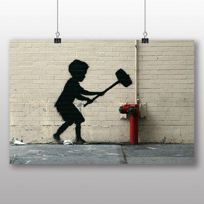 "Big Box Art ""Fire Hydrant Graffiti"" by Banksy Art Print on Canvas"