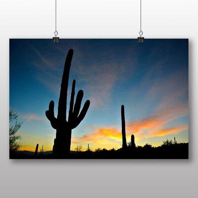 Big Box Art Arizona Sunrise Cactus No.1 Photographic Print on Canvas