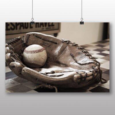 Big Box Art Baseball Ball and Glove Photographic Print Wrapped on Canvas