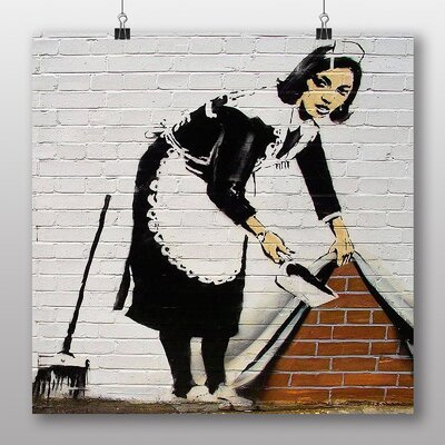 "Big Box Art ""Maid Sweeping Graffiti No.1"" by Banksy Art Print Wrapped on Canvas"