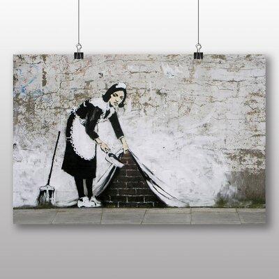 "Big Box Art ""Maid Sweeping Graffiti No.2"" by Banksy Art Print Wrapped on Canvas"