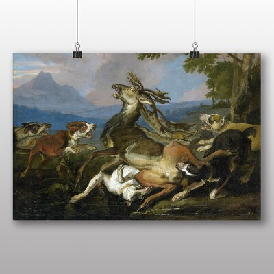 Big Box Art 'The Deer Hunt' by Abraham Hondius Art Print