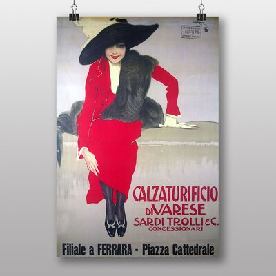 """Big Box Art """"Lady in Red"""" by Adolfo Hohenstein Vintage Advertisement on Canvas"""