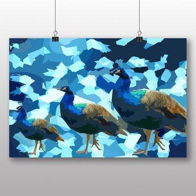Big Box Art Blue Abstract Peacocks Graphic Art on Canvas