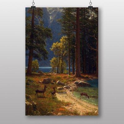 Big Box Art 'Group of Deer beside a Lake' by Albert Bierstadt Art Print
