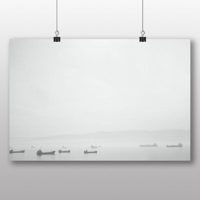 Big Box Art 'Black and White Boats on the Ocean' Photographic Print