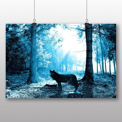 Big Box Art Black Wolf Photographic Print Wrapped on Canvas