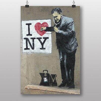 """Big Box Art """"I Heart Ney York NY Graffiti"""" by Banksy Art Print on Canvas"""
