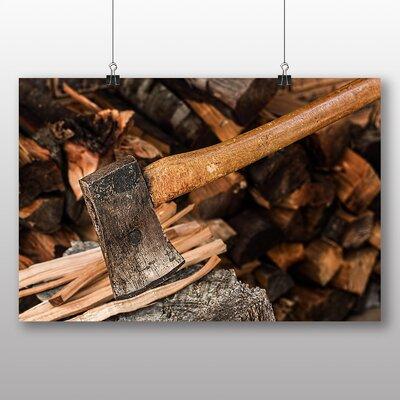 Big Box Art Axe and Wood Log Photographic Print on Canvas