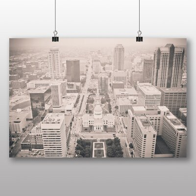 Big Box Art Black and White City Photographic Print Wrapped on Canvas